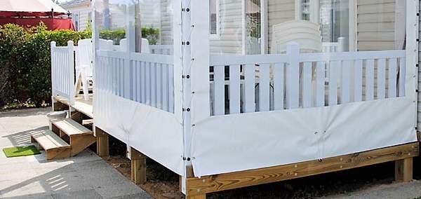 Terrasse mobil home mixte bois - PVC